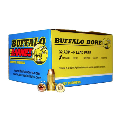 .32 ACP +P 60 Grains Barnes TAC-XP by Buffalo Barnes (20 Count)