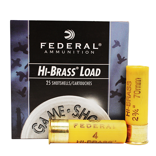 "Lead Hi-Brass 20ga 2 3/4"" 4-Shot /25"