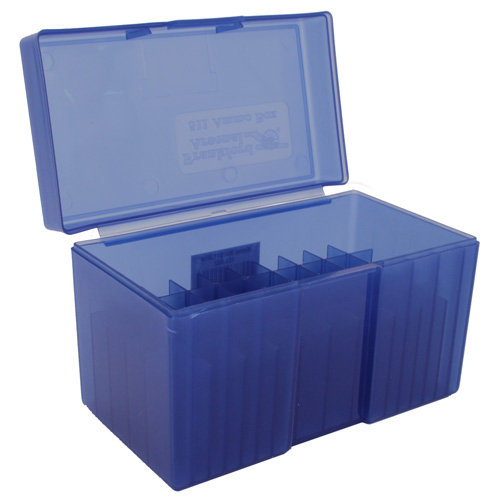 Belted Magnum Blue Rifle Ammo Box Fits 50 Bullets