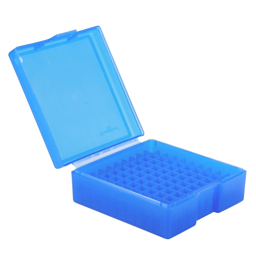 Blue Handgun Ammo Box - Holds 100 Rounds for 38/357