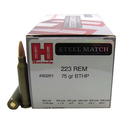 223 Rem 75gr BTHP SteelMatch /50