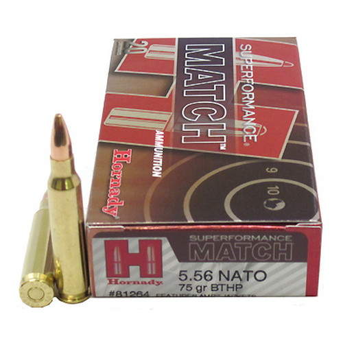 5.56 NATO 75 grain BTHP Superformance-Match by Hornady 20 Count