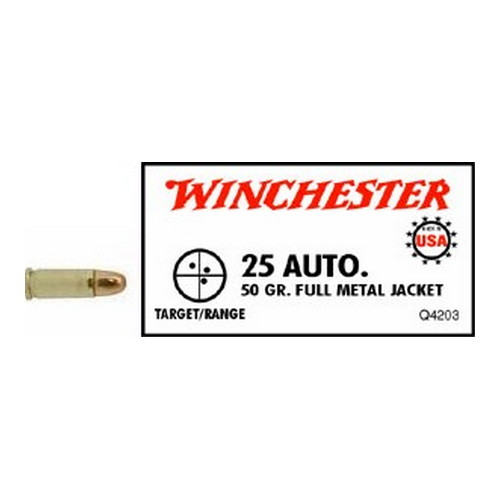 .25 Automatic USA Full Metal Jacket 50 Grains by Winchester Ammo (50 Count)