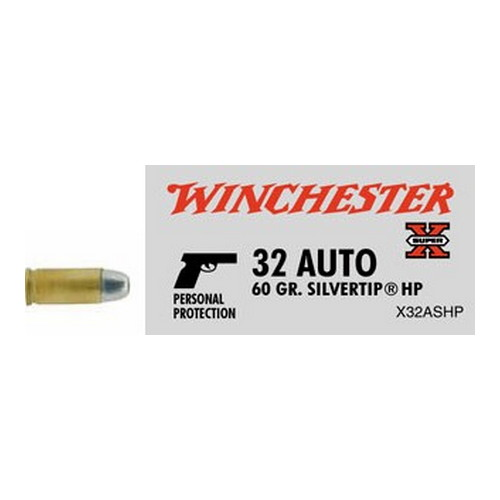 .32 Automatic Super-X 60 Grains Silvertip Hollow Point by Winchester Ammo (50 Count)